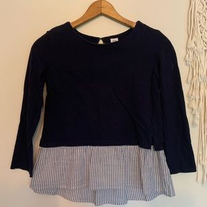 Gap Kids Blue striped Ruffle Shirt